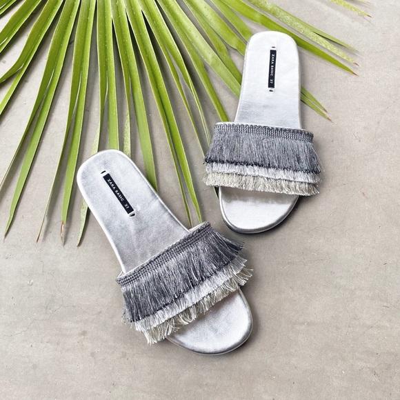 ZARA Silver Metallic Fringe Sandal Slides EU 37